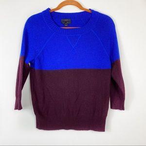 J.Crew Cashmere Color Block Sweater Sz XS